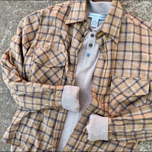 Vintage Wool Plaid Button Down Shirt